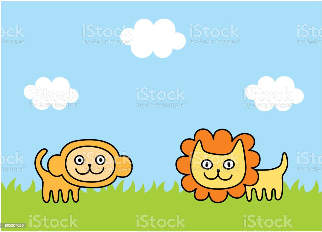 cute monkey and lion spring picture vector royalty-free cute monkey and lion spring picture vector stock illustration - download image now