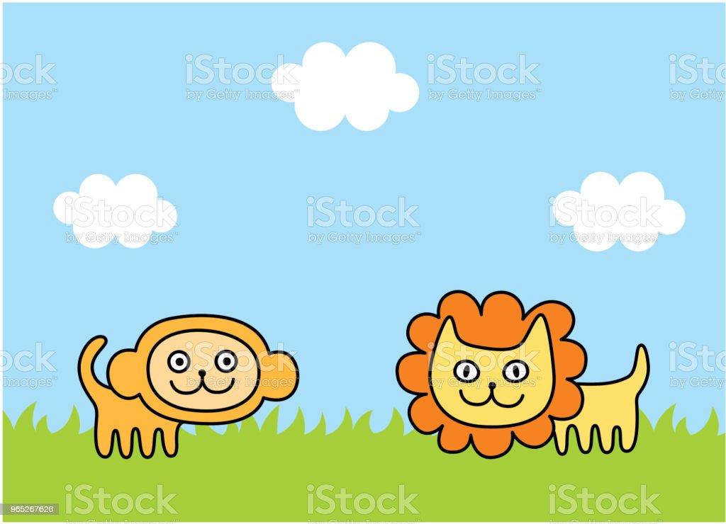 cute monkey and lion spring picture vector cute monkey and lion spring picture vector - stockowe grafiki wektorowe i więcej obrazów baby shower royalty-free