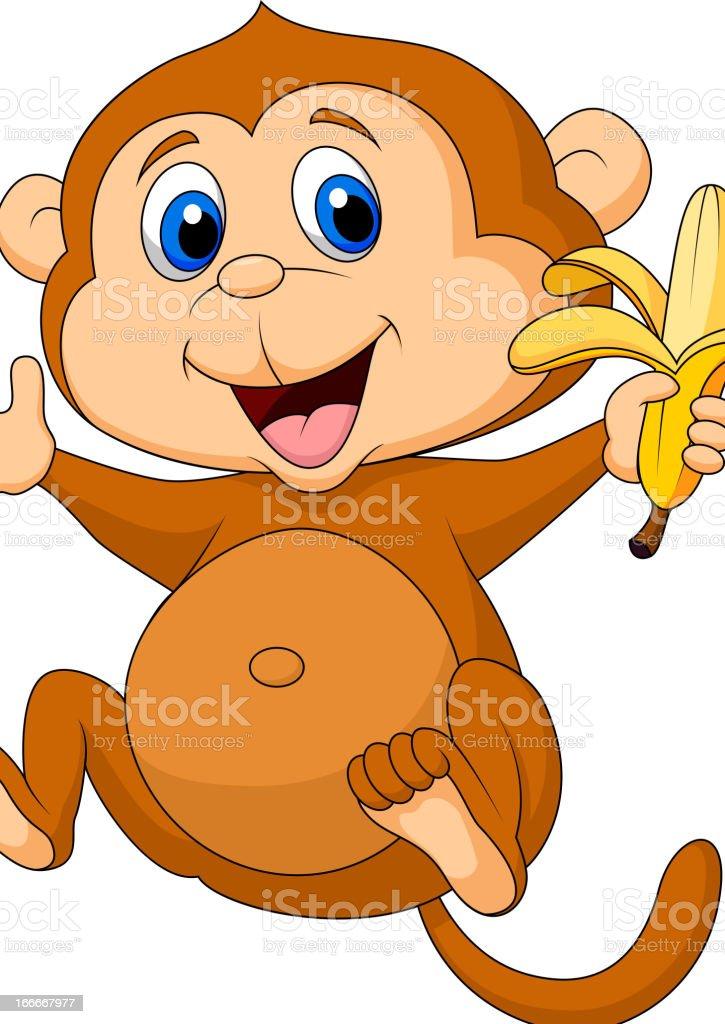 可愛らしいお猿カットイラストバナナ イラストレーションのベクター