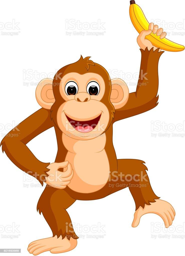 可愛らしいお猿カットイラストバナナ おもちゃのベクターアート素材や