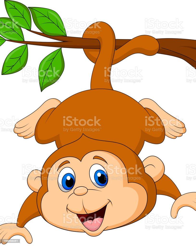 かわいい猿カットイラスト垂れ下がるに木の枝 イラストレーションの