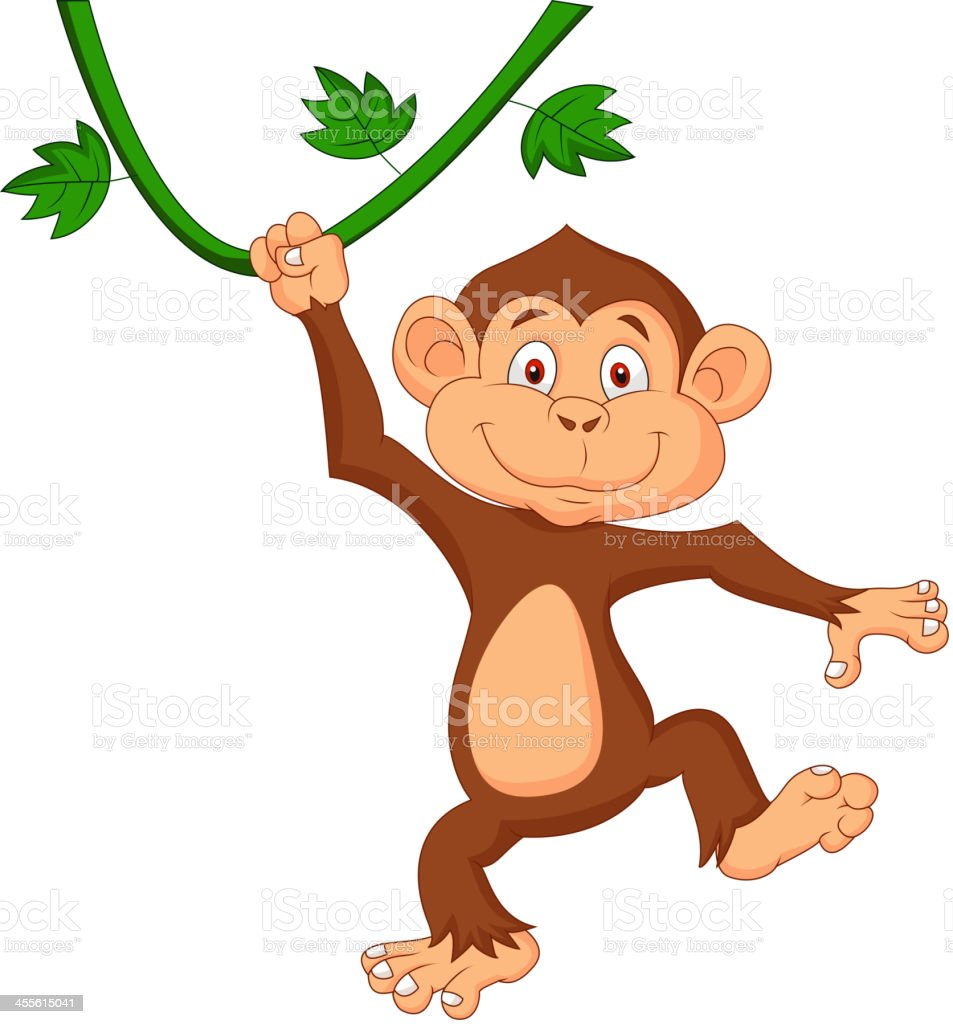 royalty free monkey cartoon hanging chimpanzee clip art vector rh istockphoto com Zebra Clip Art chimp image clipart