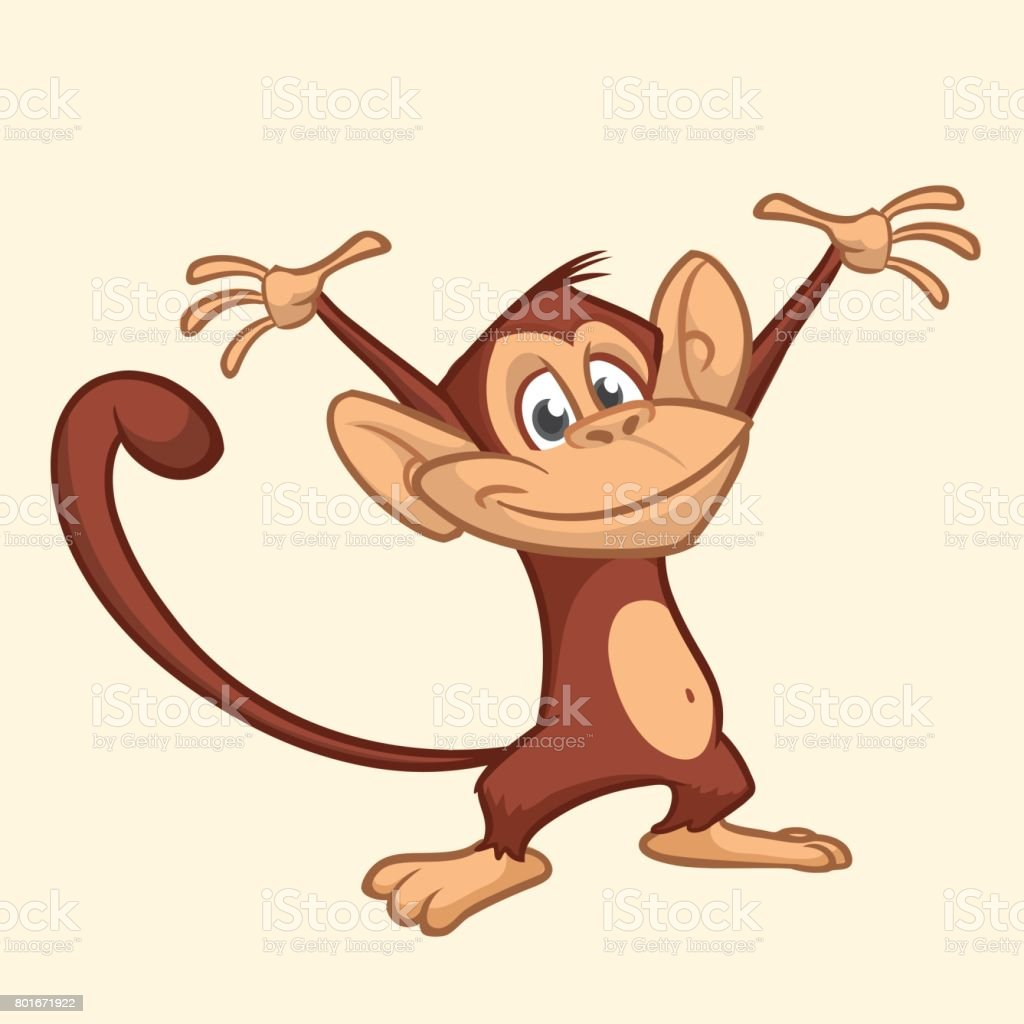 Cute monkey cartoon icon. Vector illustration vector art illustration