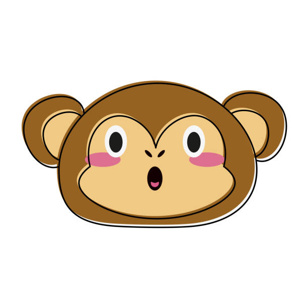 말풍선이 있는 귀여운 원숭이 - 강아지 실루엣 stock illustrations