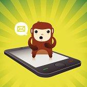 istock Cute Monkey Character Notification Smart Phone 165731433