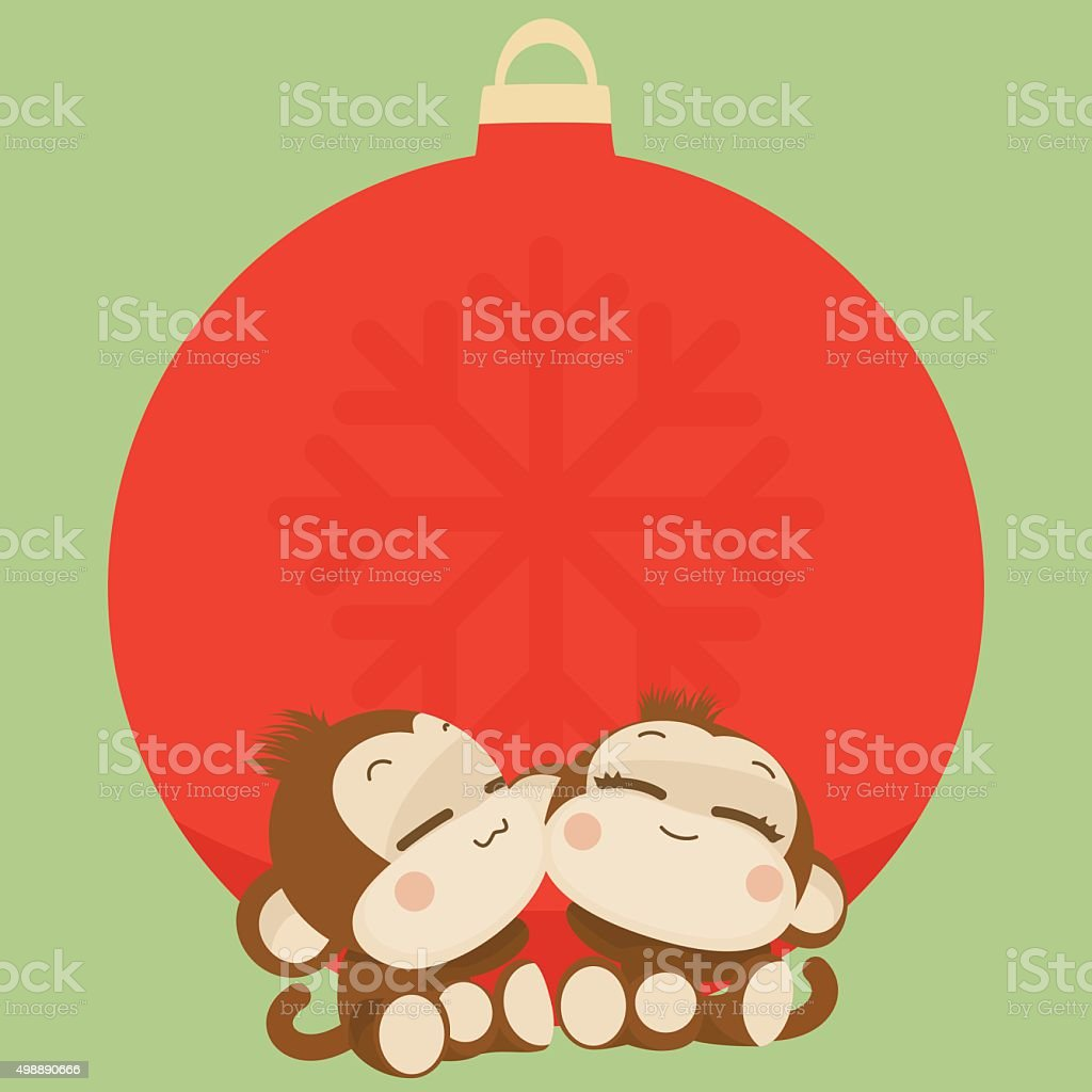 cute monkey couple happy new year 2016 vector illustration royalty free cute monkey