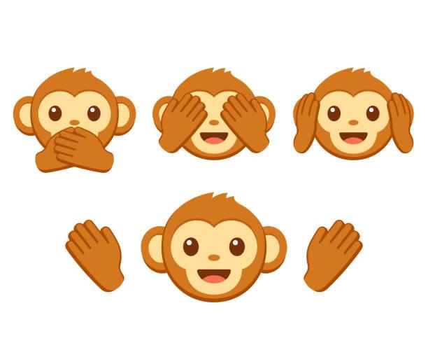 cute monkey emoji set - monkey stock illustrations