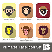 cute monkey face flat icon set