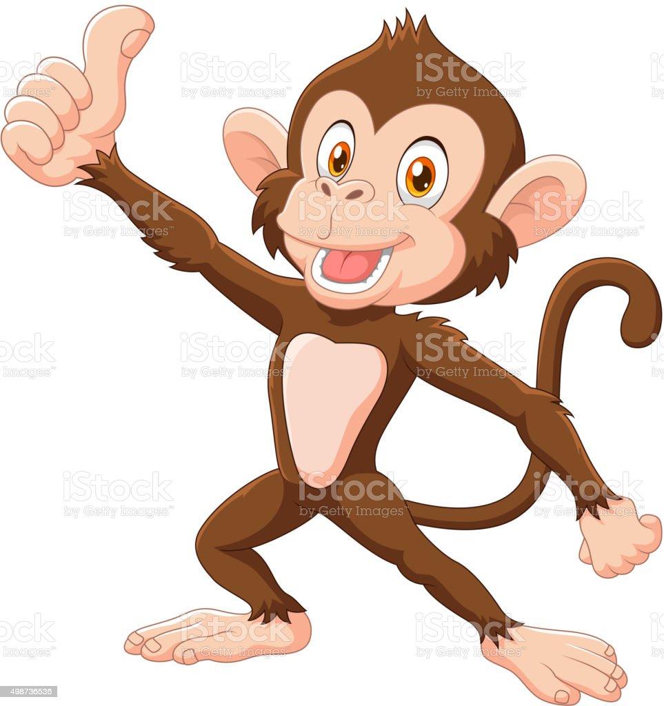 Niedlichen Affen geben Daumen nach oben, isoliert auf weißem Hintergrund – Vektorgrafik