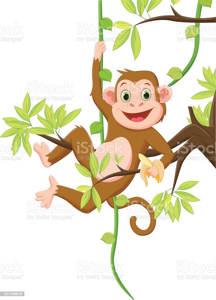 5d18e89ecb11c Cute Monkey Hanging On A Tree And Holding Banana Stock Vector Art ...