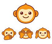 Cute monkey icons