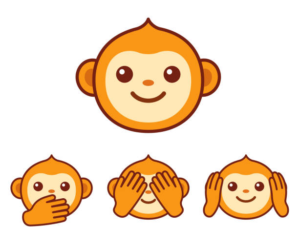 Niedlichen Affen Symbole – Vektorgrafik