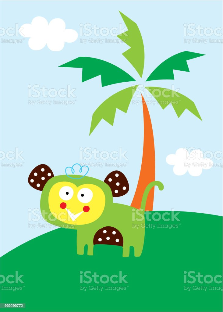 cute monkey in the garden wallpaper royalty-free cute monkey in the garden wallpaper stock vector art & more images of animal