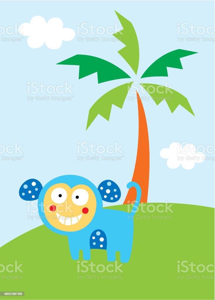 cute monkey in the garden wallpaper cute monkey in the garden wallpaper - stockowe grafiki wektorowe i więcej obrazów baby shower royalty-free