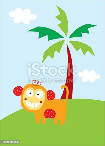 Cute Monkey In The Garden Wallpaper - Stockowe grafiki wektorowe i więcej obrazów Baby Shower 965296800