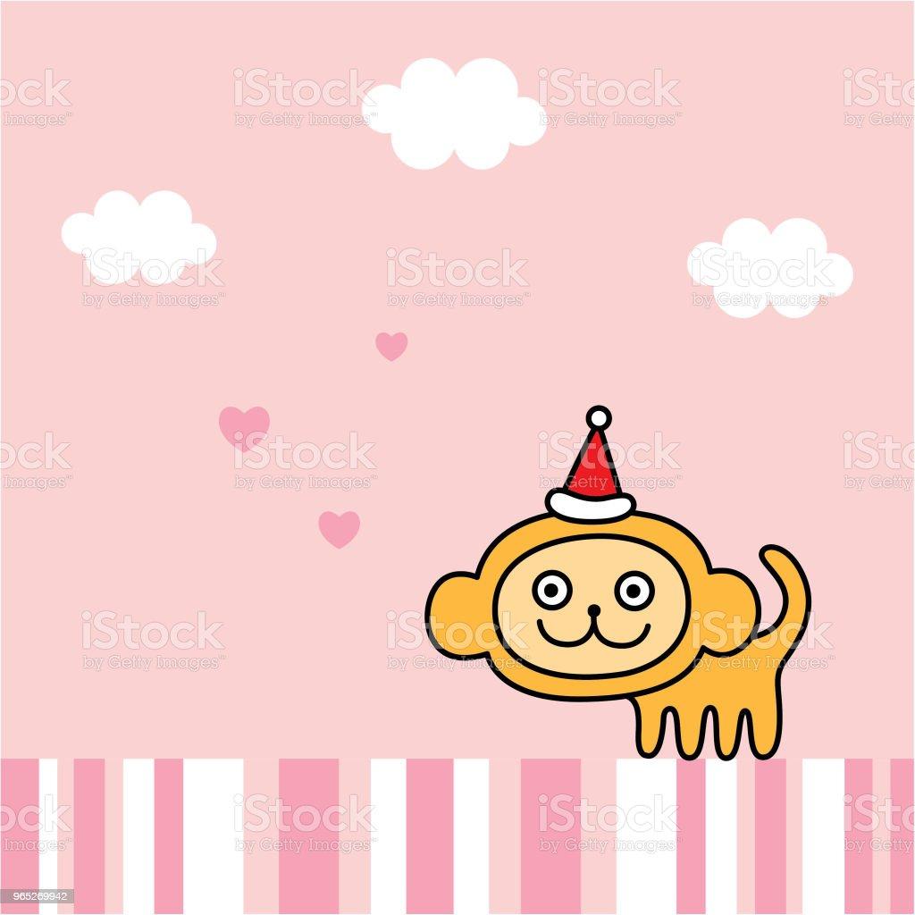 cute monkey merry christmas greeting card vector royalty-free cute monkey merry christmas greeting card vector stock vector art & more images of animal