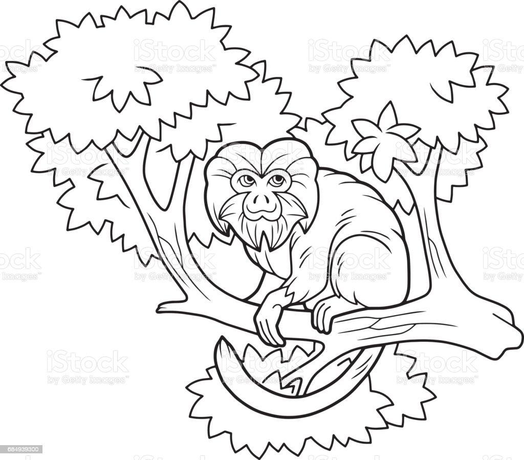 cute monkey on a branch Lizenzfreies cute monkey on a branch stock vektor art und mehr bilder von affe