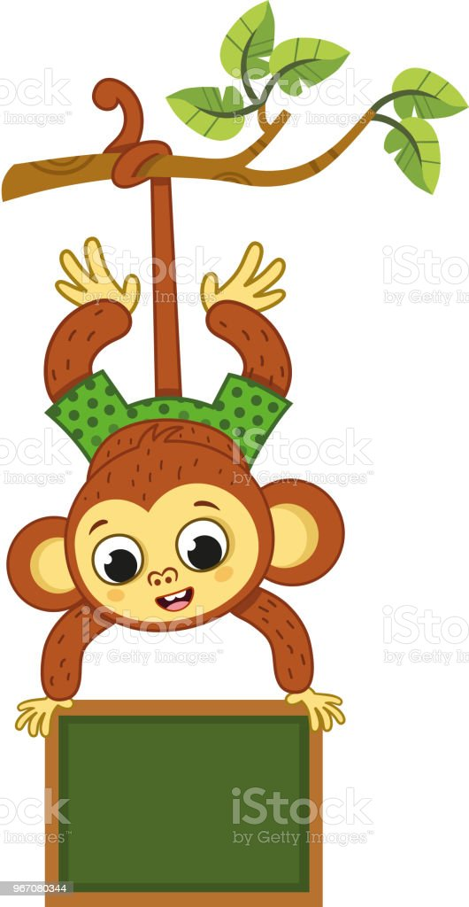 Cute Monkey On A Tree Swinging With A Board Stock Illustration Download Image Now