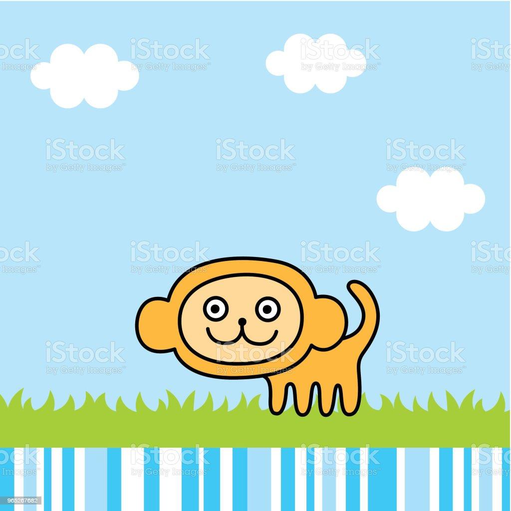 cute monkey spring picture vector cute monkey spring picture vector - stockowe grafiki wektorowe i więcej obrazów baby shower royalty-free