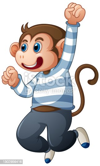 A cute monkey wearing t-shirt cartoon character isolated on white background