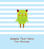 cute monster greeting card vector