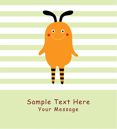 귀여운 몬스터 인사말 카드 벡터 공포-무서움에 대한 스톡 벡터 아트 및 기타 이미지