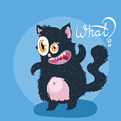 Cute monster kitten with text. Vector illustration for t shirt and print design. Poster, card, label. What?