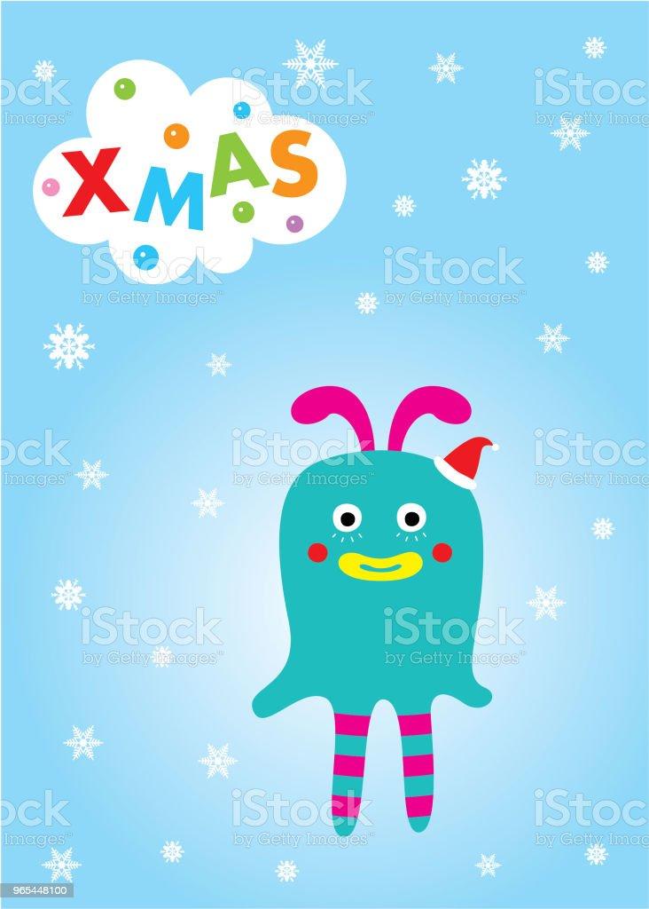 carte de voeux Noël joyeux monstre mignon - clipart vectoriel de Acclamation de joie libre de droits