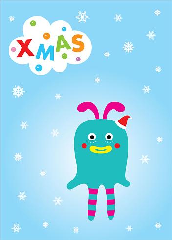 Carte De Voeux Noël Joyeux Monstre Mignon Vecteurs libres de droits et plus d'images vectorielles de Acclamation de joie