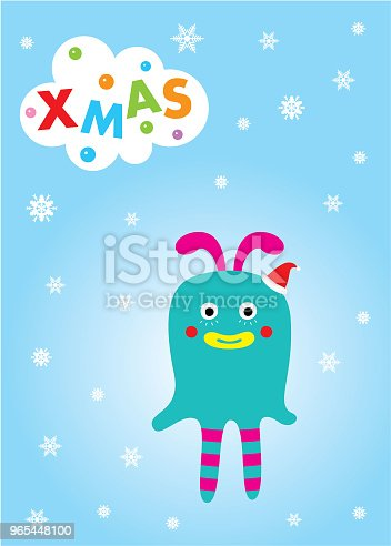 Cute Monster Merry Christmas Greeting Card Stock Vector Art & More Images of Animal 965448100