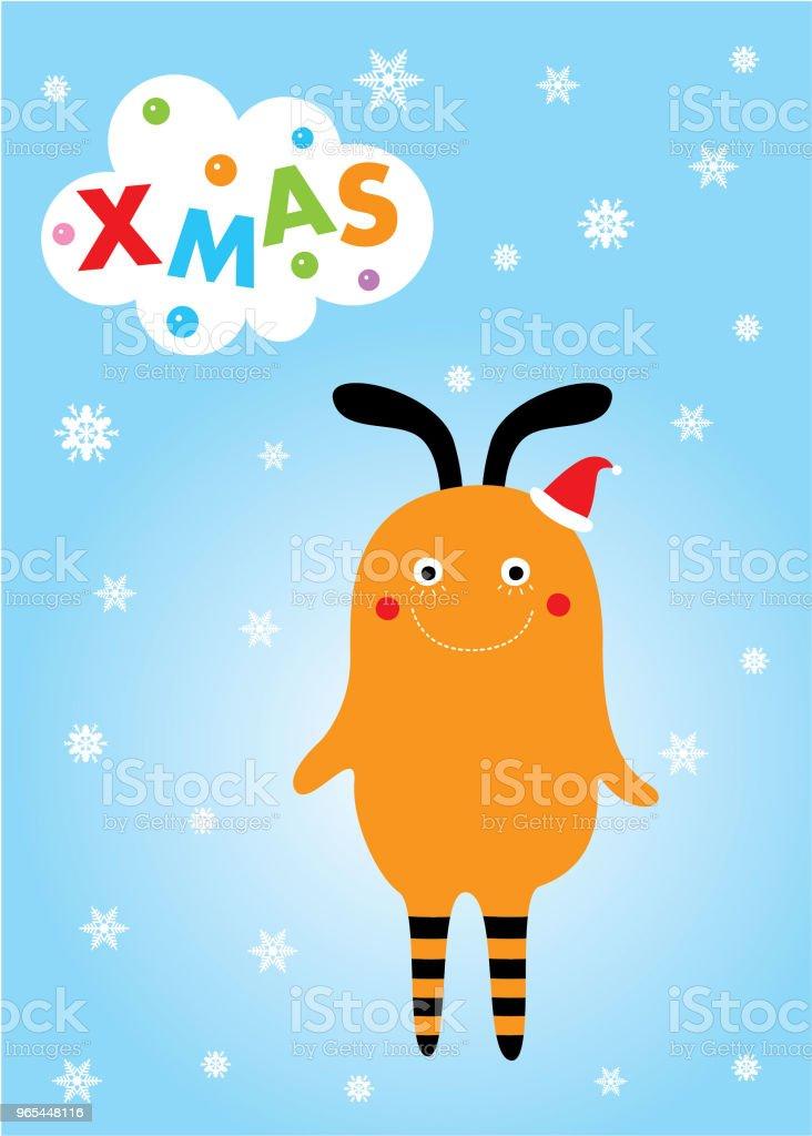 귀여운 몬스터 메리 크리스마스 인사말 카드 - 로열티 프리 12월 벡터 아트