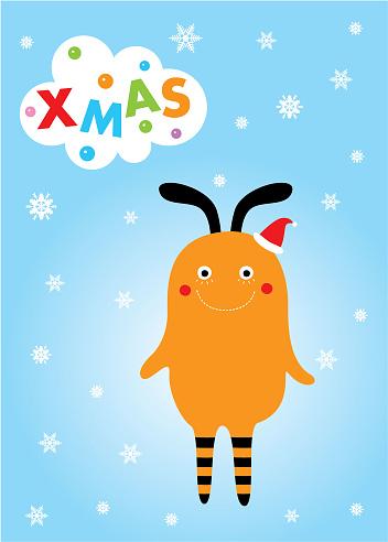 귀여운 몬스터 메리 크리스마스 인사말 카드 12월에 대한 스톡 벡터 아트 및 기타 이미지