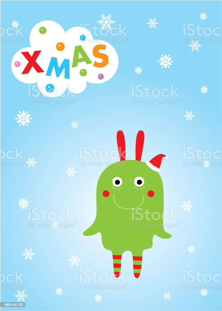 cute monster merry christmas greeting card royalty-free cute monster merry christmas greeting card stock illustration - download image now