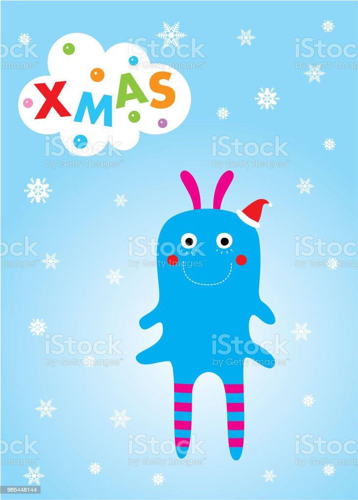 可愛的怪物聖誕賀卡 - 免版稅BB房圖庫向量圖形