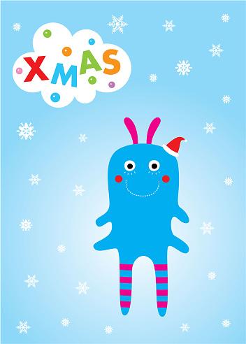 可愛的怪物聖誕賀卡向量圖形及更多BB房圖片