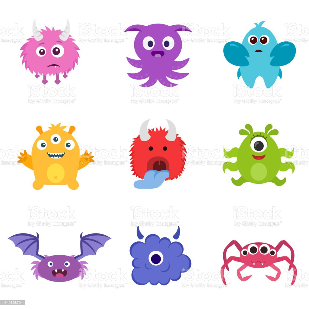 cute monster set different smiling monsters stock vector art more
