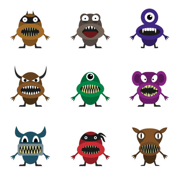süße monster set - pig ugly stock-grafiken, -clipart, -cartoons und -symbole