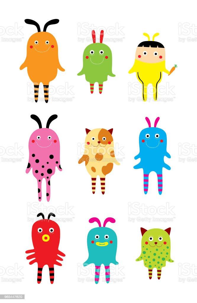 cute monster set cute monster set - stockowe grafiki wektorowe i więcej obrazów baby shower royalty-free
