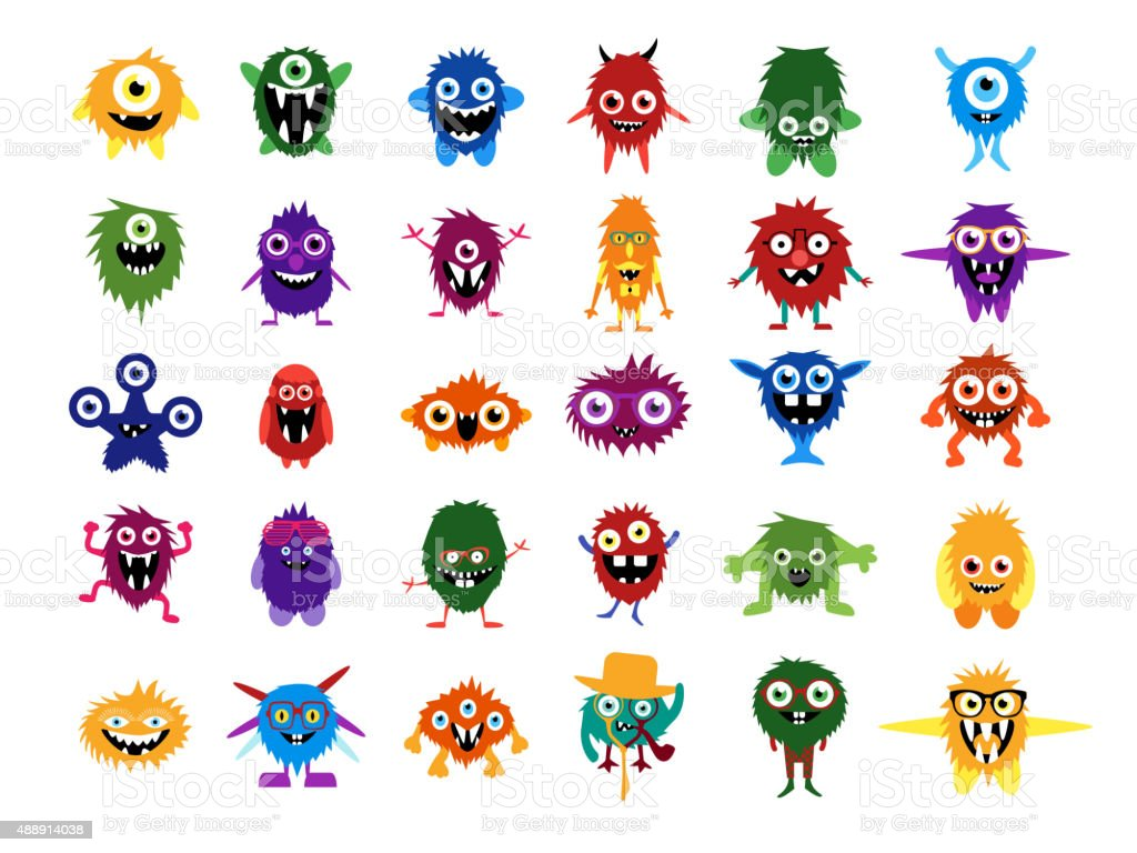 Cute monsters. Big set of cartoon monsters vector art illustration