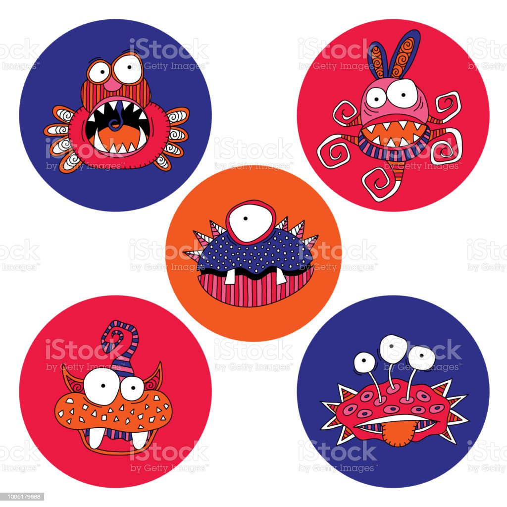 Cute Monsters Doodle Vector Bright vector art illustration