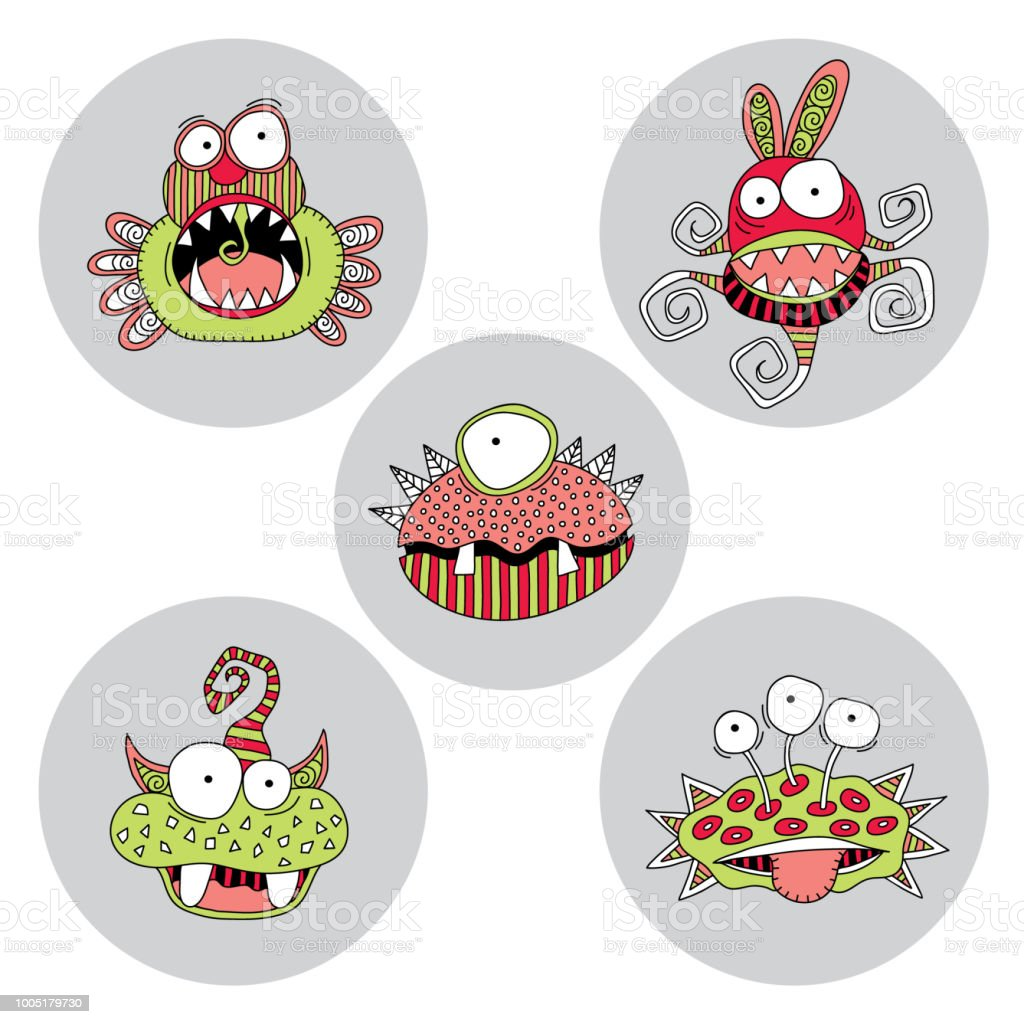 Cute Monsters Doodle Vector vector art illustration