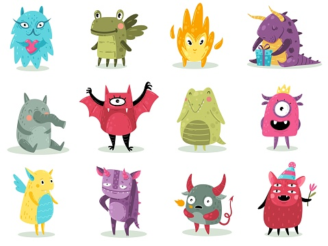Cute monsters. Funny fabulous incredible creatures with smiles and goofy faces, cartoon alien, dragons and devil spooky creatures halloween characters for print, sticker vector set