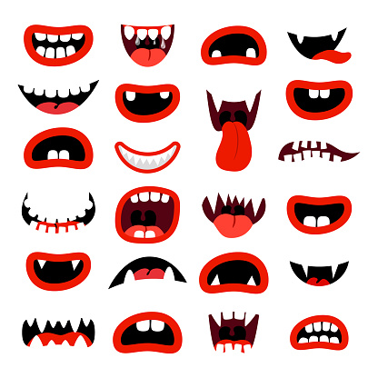 Cute monsters mouth set