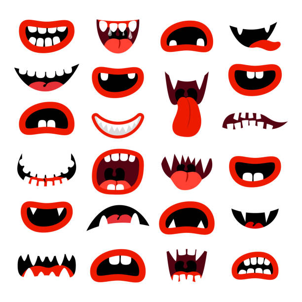 Cute monsters mouth set vector art illustration
