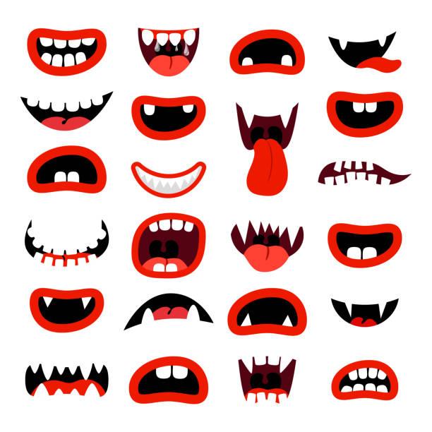 ilustraciones, imágenes clip art, dibujos animados e iconos de stock de conjunto de boca de monstruos lindo - monstruo