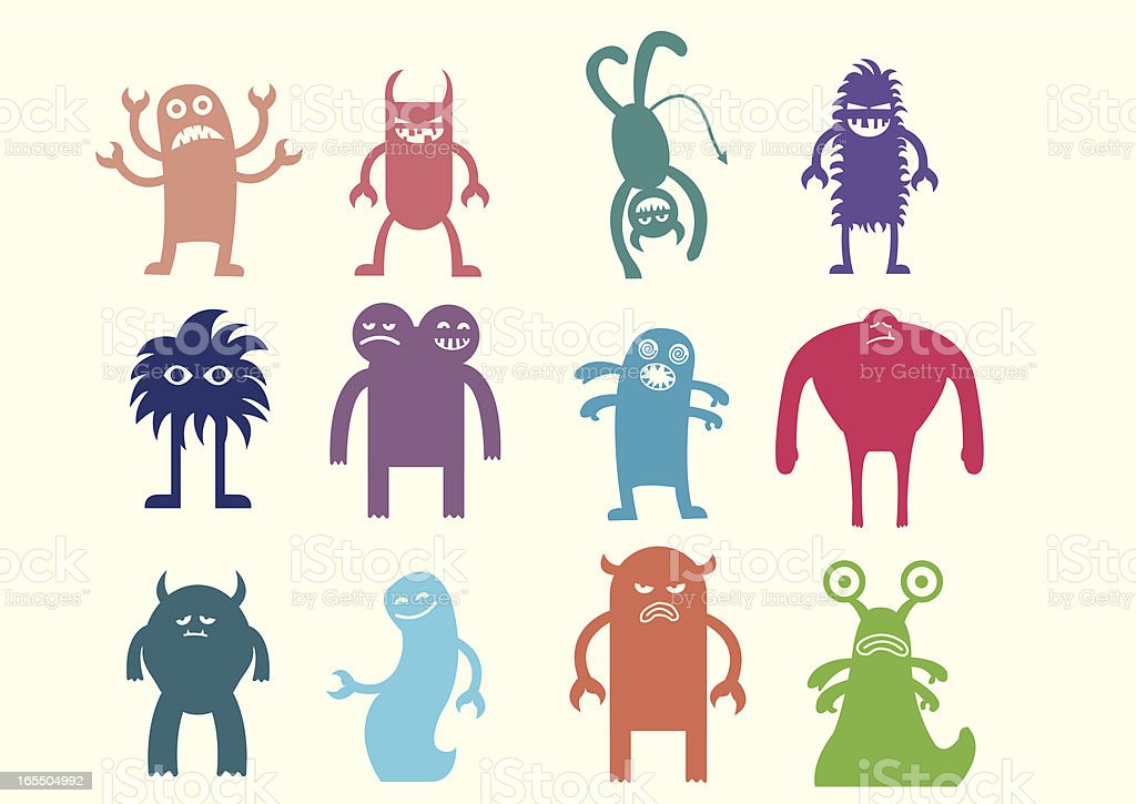 Cute monsters set 2 vector art illustration