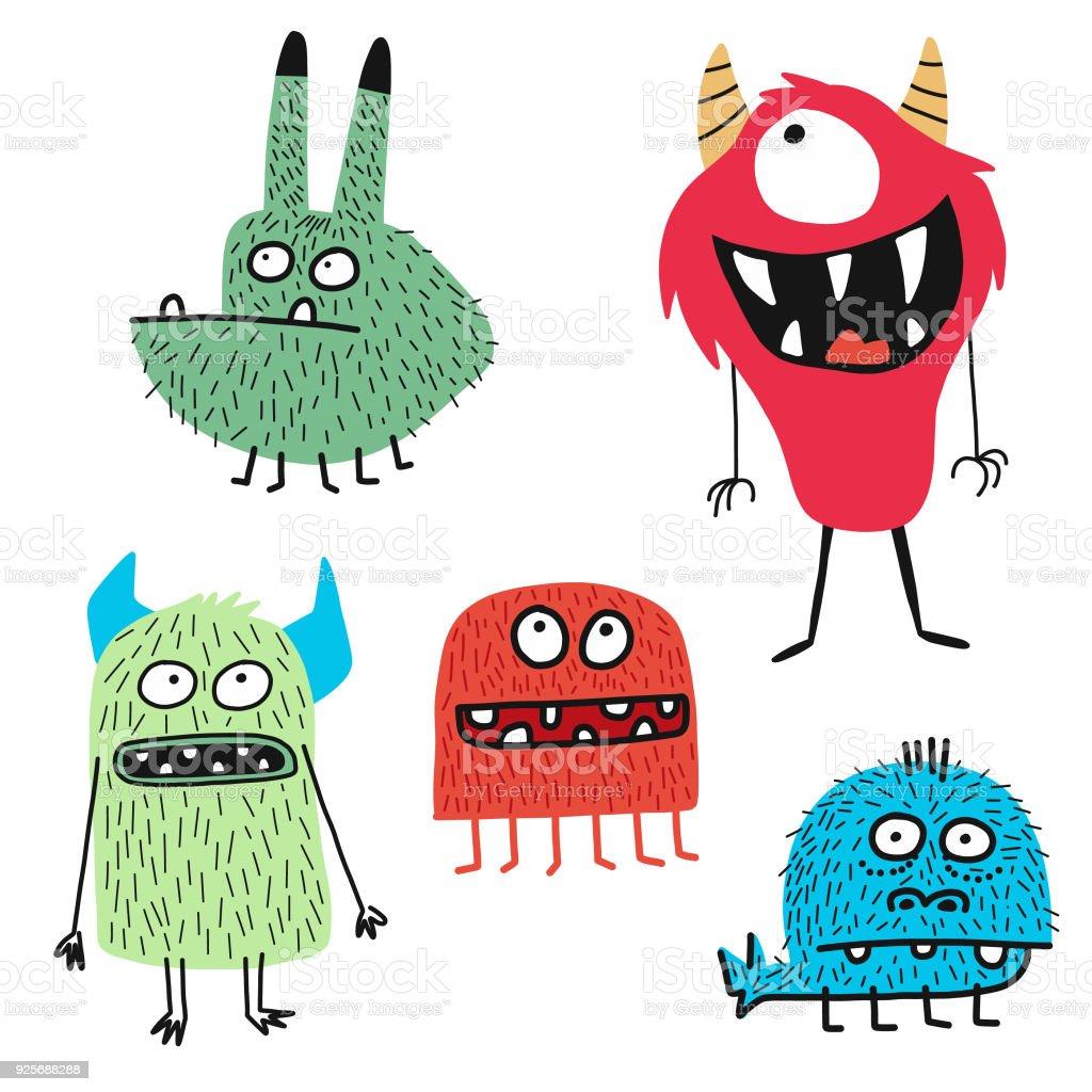 可愛的怪物 - 免版稅一組物體圖庫向量圖形