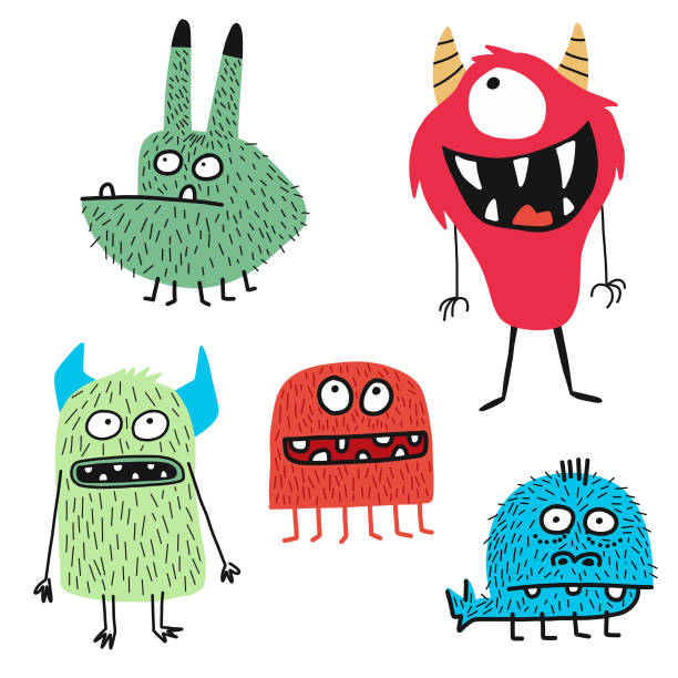 Cute monsters Vector illustration of some hand drawn cute and colorful monsters for using in design projects, book covers, stories for children and young adult readers or any website or design idea or concept book patterns stock illustrations