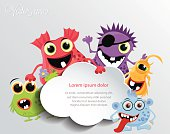 Cute monsters with a speech cloud. Vector eps10.