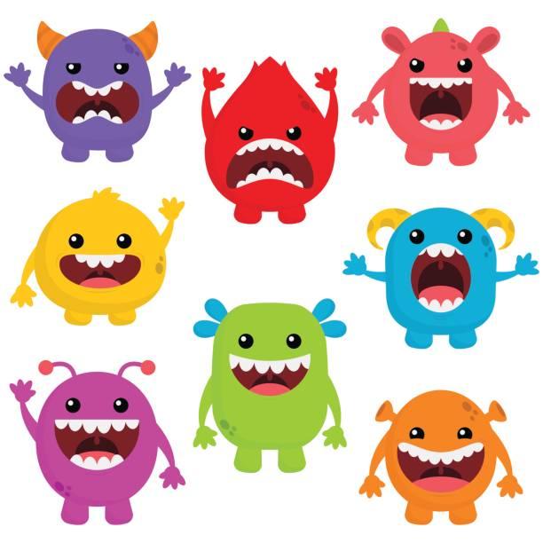 ilustraciones, imágenes clip art, dibujos animados e iconos de stock de monstruos lindos con boca grande - monstruo